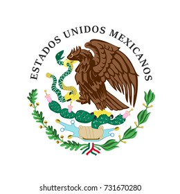 The vector illustration of colored coat of arms of Mexico.