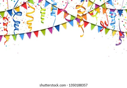 vector illustration of colored confetti, garlands and streamers on white background for party or carnival usage