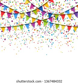vector illustration of colored confetti and garlands on white background for party or carnival usage