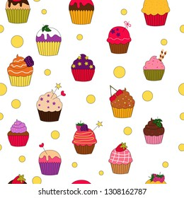 Vector illustration of colored cupcakes pattern
