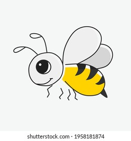Vector illustration of colored cute bee with line art style. Isolated on white background. Design for cartoon character.