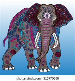 Vector illustration of the colored elephant in zentangle style
