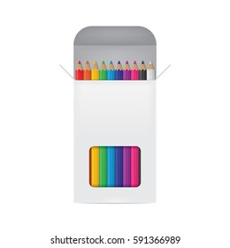 Vector Illustration of Colored Pencils Box