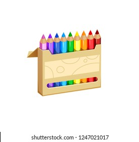 vector illustration of colored pencils in the open box