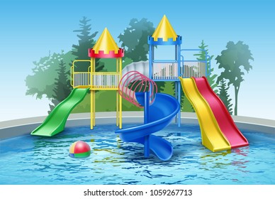 Vector illustration of colored plastic water slides with pool in outdoor aqua park. Isolated, front view