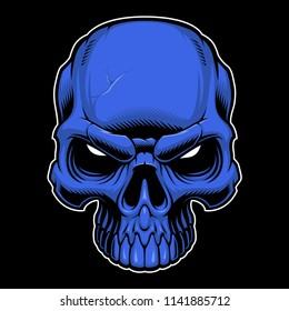 Vector illustration of colored  skull on dark backround.