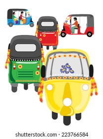 Vector illustration of colorful Asian auto rickshaw traffic on a white background