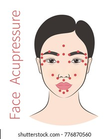 Vector illustration: a colorful asian female face icon with Face Acupressure instruction  isolated on white background