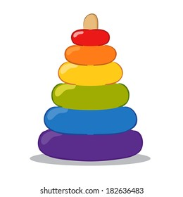 Vector illustration of a colorful baby pyramid toy