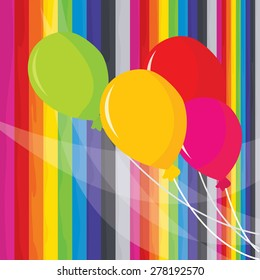 A vector illustration of colorful balloons set on a rainbow stripes background.