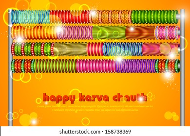 vector illustration of Colorful Bangles for Karva Chauth