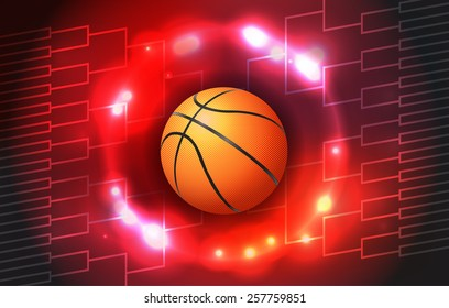 A vector illustration of a colorful basketball tournament ball and bracket. Vector EPS 10. EPS file contains transparencies and a gradient mesh.