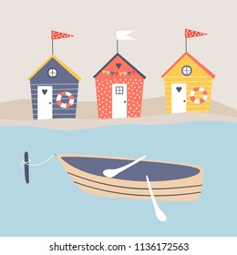 Vector illustration with colorful beach huts on the shore and boat.