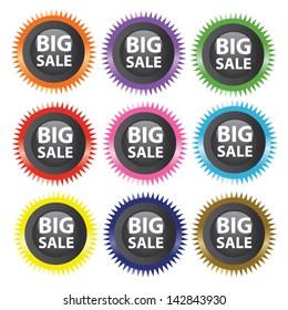 Vector illustration of colorful big sale labels.