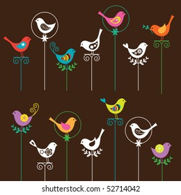 Vector illustration of a colorful bird collection. I also have a matching flower set. Please see my portfolio.