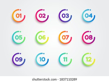 Vector Illustration Colorful Bullet Points. Set Of Number 1 To 12
