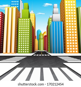 Vector illustration of colorful cartoon city.