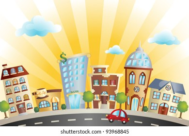 A vector illustration of colorful cartoon cityscape