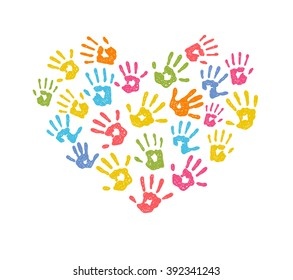 Vector illustration of a colorful children hand print heart