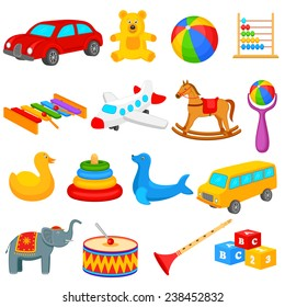 vector illustration of colorful collection of toys for kids