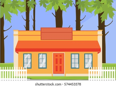 Vector illustration colorful cottage house. Flat style modern building. Residential House. Architecture home apartment urban family life