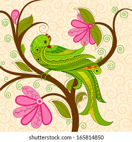 vector illustration of colorful decorated parrot