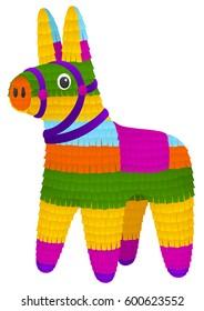 Vector illustration of a colorful, donkey-shaped pinata.