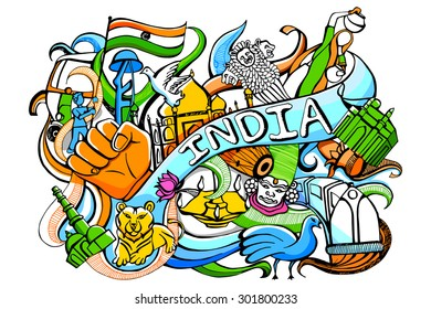 vector illustration of colorful doodle on India concept