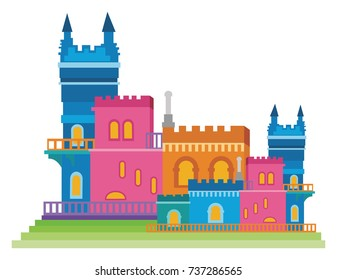 Vector Illustration of a colorful, fanciful, fairy tale castle