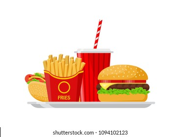 Vector illustration. Colorful fast food on tray.