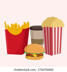 Vector illustration of colorful fast food, such as french fries, humberger, hot dogs and popcorn. many delicious foods but fast food nutrition is not healthy for our body in our daily lifestyle