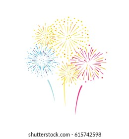 Vector illustration of colorful fireworks
