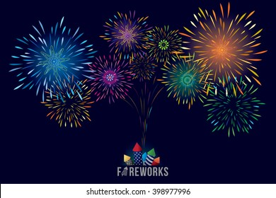 Vector illustration of colorful fireworks display with explosion of a rocket.