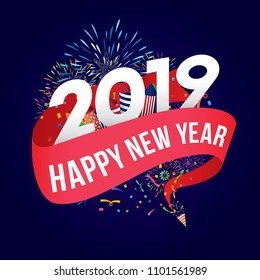 Vector illustration of Colorful fireworks. Happy new year 2019 theme