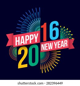 Vector illustration of Colorful fireworks. Happy new year 2016 theme