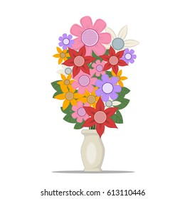 vector illustration colorful flowers in a vase