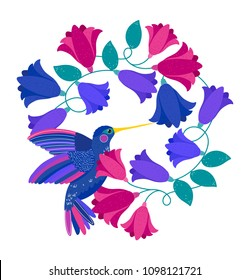Vector illustration with colorful flowers wreath and with flying colibri or hummingbird. Floral illustration for invitation, wedding card. Floral card with wreath from flowers. Flowers in circle frame