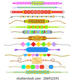 vector illustration of colorful Friendship bands