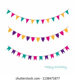Vector Illustration of Colorful Garlands on white background. Rainbow colors buntings and flags. Holiday set. Festive flags.