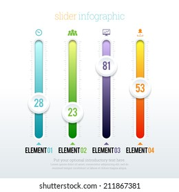 Vector illustration of colorful glossy slider infographic elements.