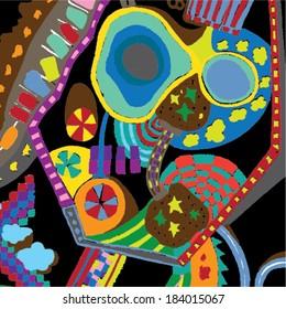 Vector illustration of colorful  graphic pattern. Childish, Willy Wonka, 70s. Landscape, Hundertwasser.