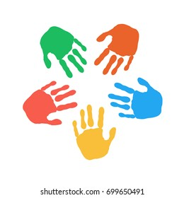 vector illustration. Colorful hand prints on white background, round frame. Concept for peace, cooperation, friendship.