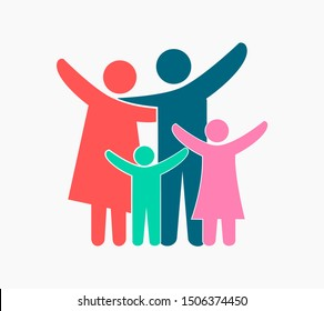 Vector illustration of colorful happy family icons. Father, mother, daughter and son on a white background