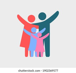 Vector illustration of colorful happy family icons. Father, mother and two daughter on a gray background