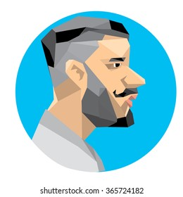 Vector illustration colorful Hipster men on polygonal style