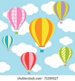 Vector illustration of colorful hot air balloons on the blue sky. Seamless pattern of this picture and seamless sky pattern are included in swatch.