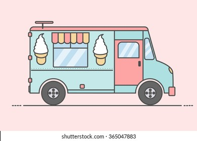 Vector illustration of colorful ice cream truck. Side view, isolated.