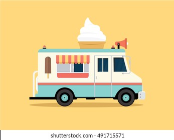 Vector illustration of colorful ice cream truck in flat style
