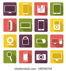vector illustration of colorful icons with shadow with gadgets