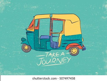 Vector Illustration of colorful Indian Rickshaw. Vintage and Retro style tuk tuk taxi design.
